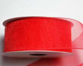 "1 1/2"" Organza Ribbon -  Red - 25 yard spool"