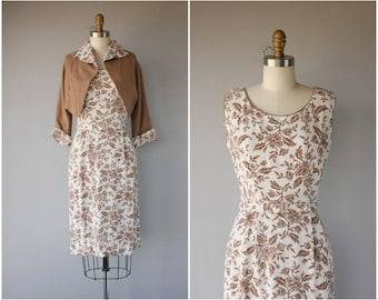 Vintage 1950s Dress Set | 50s Floral Print Wiggle Dress | 1950s Wiggle Dress | 1950s Linen Dress and Bolero jacket | 50s Dress- (small)