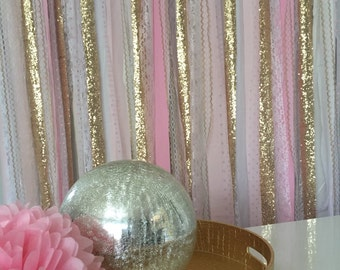 Pink Ombre & Gold Sequin Sparkle Fabric Backdrop Garland - Wedding, Baby Shower, Photo Prop, Nursery, Crib Garland