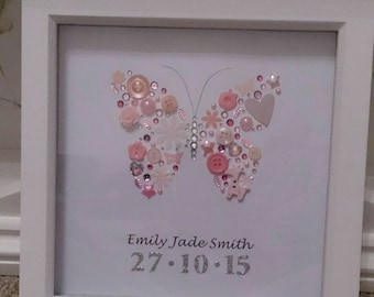 Personalised butterfly box frame. Pretty butterfly button art, Made with buttons, rhinestones and other pretty things!