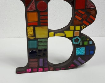 Mosaic Letters in Bright Rainbow Colours. Made to Order Mosaic MDF Letters. Mosaic Monogram Letter by AMEArtitry2017