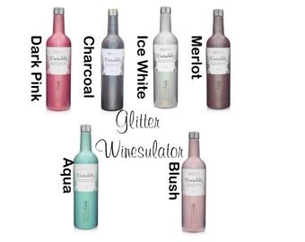 Glitter Winesulator, Monogrammed Winesulator, Personalized Stainless Steel Wine Bottle, Initial Stainless Steel Wine Bottle, Wine Bottle