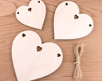 Wooden Heart Bunting, Natural Birch Wood Garland with Sweetheart Holes
