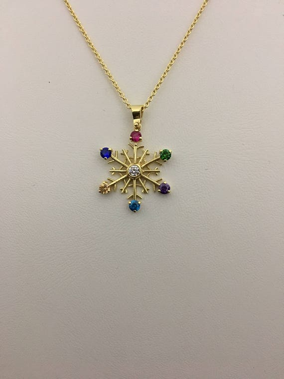 Snowflake pendant colorful gold snowflake necklace zirconia te gusta este artculo aloadofball Images