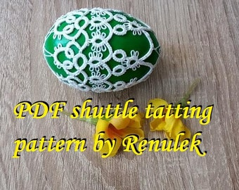 "Egg 3D no.3"" PDF Original Shuttle Tatting Pattern by Renulek. Instant Digital Download. Tatting yourself gift. schemat frywolitki. Easter"