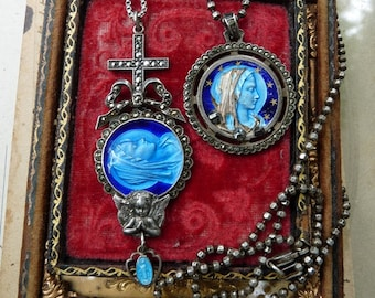 Rare Antique French Blue Enamel Virgin Mary Medallion Necklaces, Unique Talismans for the Wild Gypsy, by RusticGypsyCreations