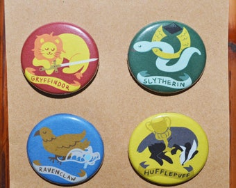 Harry Potter Hogwarts Houses Pin/Button Set - Gryffindor sword, Slytherin ring, Ravenclaw diadem, Hufflepuff cup