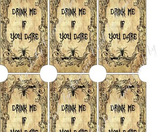 Instant digital download Halloween drink me bottle label sticker apothecary