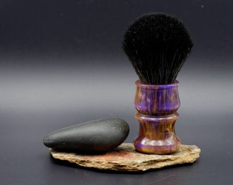 Shaving Brush - Purple and Gold Resin Lathe-Turned Handle with Synthetic BOSS Knot