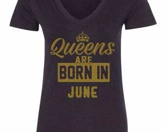 Queens Are Born In June Women's Black V-Neck T-Shirt