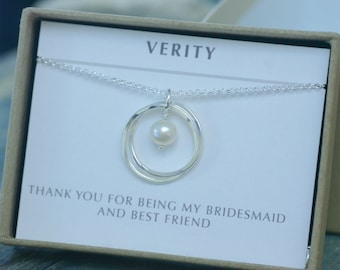 Sister necklace pearl, 2 year anniversary gift, best friend necklace, maid of honour gift, 2 sisters - Lilia