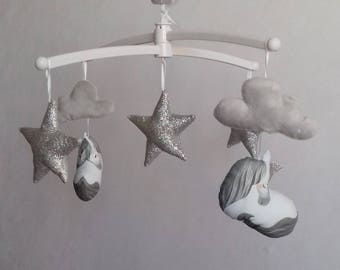 Silver unicorn baby mobile