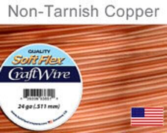 24 Gauge Non Tarnish Copper Wire, Soft Flex, Supplies, Findings, Craft Wire