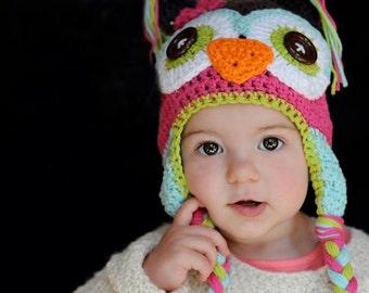baby hat, owl hat,  girls owl hat, crochet owl hat, crochet kids hat, crochet baby hat,  owl hat, animal hat, baby animal hat