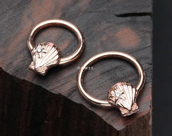 Rose Gold Ariel's Seashell Steel Captive Bead Ring