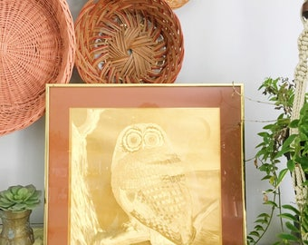 Vintage Rare 1970's Metallic Gold Owl Art Print Metal Owl Print Brass Artwork Owl Art Original Art
