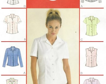 Womens Button Front Tops OOP McCalls Sewing Pattern 2094 Size 18 20 22 Bust 40 42 44 UnCut Suit Blouse Patterns