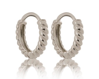 14K Solid White Gold Small Twisted Huggie Earrings