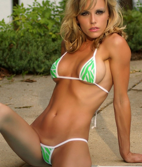 White w neon green animal print mini micro g string bikini for Best online photo gallery