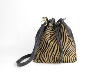 Vintage Leather Bucket Bag | Cavallino Leather Purse | Smooth Leather Drawstring Bag