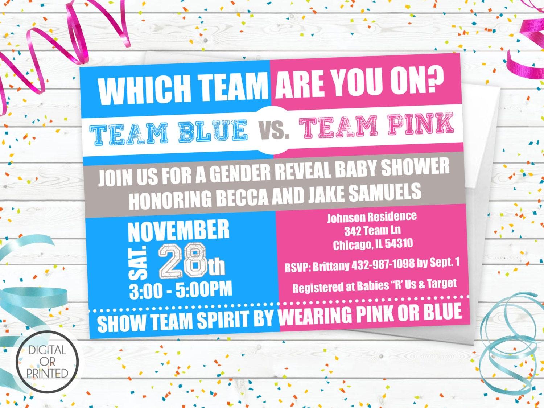 Gender Reveal Baby Shower Invitations Team Blue vs Team Pink