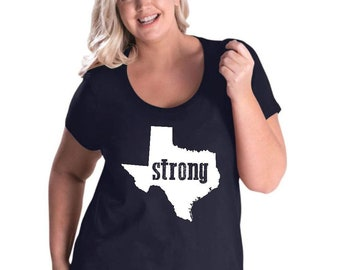 Strong Texas   Women Curvy Plus Size Scoopneck Tee
