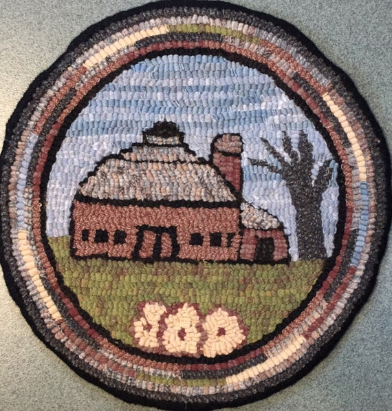 """Rug Hooking Pattern for """"Old Barn #3"""" Chair Pad, on Monks Cloth or Primitive Linen, P141"""