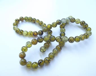 colored 6 mm LAO-523 dragon vein agate 60 beads