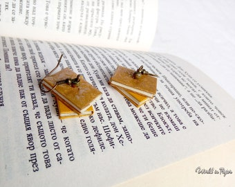 Stack book earrings, mini book earrings, mini book stack earrings, golden yellow books, book lover gift, bookish earrings, book miniature