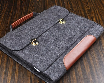 leather Handbag  laptop case  leather Briefcase, Asus Felt  laptop sleeve, 15.6 laptop cover  15 inch laptop bag. Briefcase case 1B330