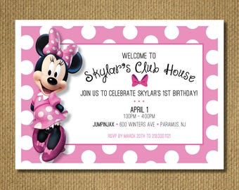 PRINTABLE | Minnie 1st Birthday Party Invitation, Personalized Printable Invitation, You Print, Pink Polka dots, 7x5