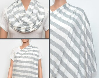 Grey Stripes Nursing Scarf -  Nursing Cover - Nursing Cover Scarf -  Nursing Infinity Scarf - Infinity Scarf