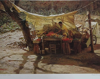 "Clark Hulings ""Chapala Fruit Vendor"" Signed and Numbered Limited Edition Archival Print"