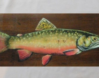 Brook Trout on Barnwood; Rustic;  Sign; Fish; barn wood; Fish; Brook Trout;