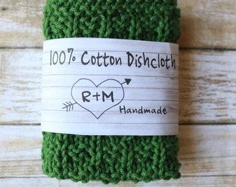 Knit Dishcloth, Eco Friendly, Knit Dishcloths, Cotton Scrubbie, Green Washcloth