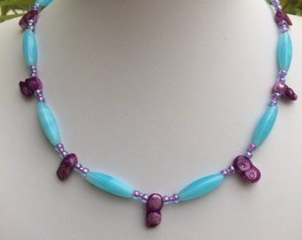 Hand Crafted Blue and Purple Beaded Necklace