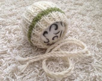 Newborn knit textured round back bonnet fern and winter white