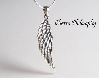 Angel Wing Necklace - 925 Sterling Silver Jewelry - Sympathy Gift - Women's and Men's Wing Necklace