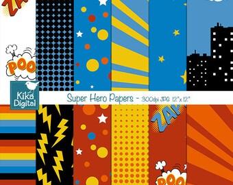 Super Hero Digital Papers, Speech Bubble Digital Scrapbook card design, invitations, party birthday, decor, background - INSTANT DOWNLOAD