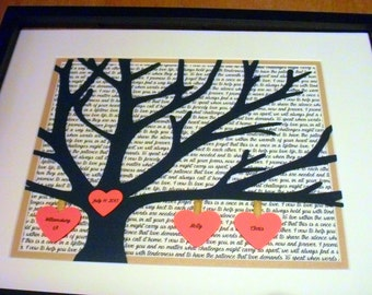 3D Anniversary Gift For Parents, Personalized 11X14 Unframed 3D Paper Tree Wedding Gift, Anniversary, Wedding Song Lyrics