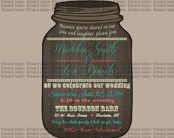 Template Mason Jar Invitation,old weathered wood background,custom invitation,custom color,personalized,rustic invitation,wedding shower