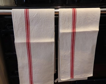 A Pair of Vintage French Tea Towels Red Stripes