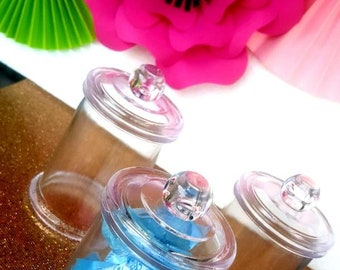 jar favors containers (6 pieces)/candy container/ candy buffet/clear container/container with lid/ hard plastic container