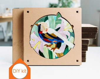 Mosaic kit Art DIY bird on branch with flowers Gift for couple Wedding mosaic gift DIY wedding favors Adult craft kit Best friends present