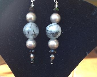 Tourmalinated Quartz and Silver Dangles