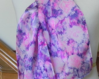 Hand dyed oblong silk scarf magenta pink and purple violet, Unique abstract silk scarf #466, Ready to Ship