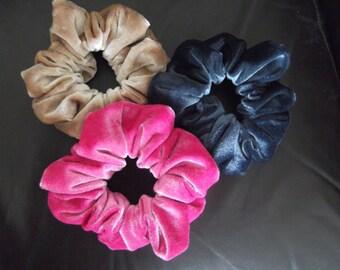 Pink Velvet Hair Scrunchie, Slate Grey Velvet Hair Scrunchie, Gold Velvet Hair Scrunchie, chouchou