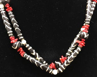 Coral, Bone, and Mother of Pearl Necklace- Handmade