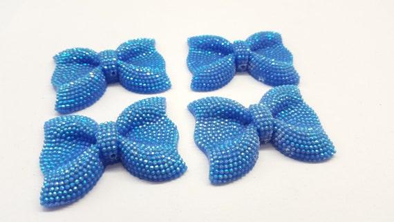 MajorCrafts® 3pcs 54mm Light Blue AB Large Flat Back Chunky Resin Rhinestone Embellishment Bows C20