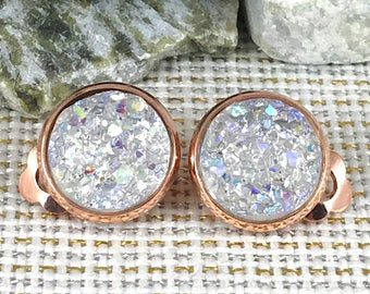 Crystal Clear Druzy Clip On Earrings - Druzy - Clip On Earrings - Rose Gold Clip On Earrings - Non Pierced Ears - Clip Ons - Jewelry - Drusy